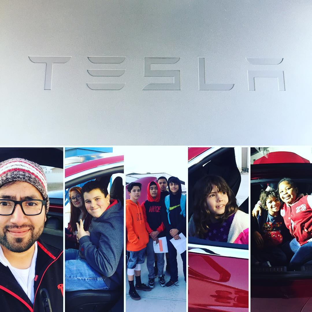 Collage of students in a Tesla Model S at the annual Fernley STEM Festival at Fernley High School