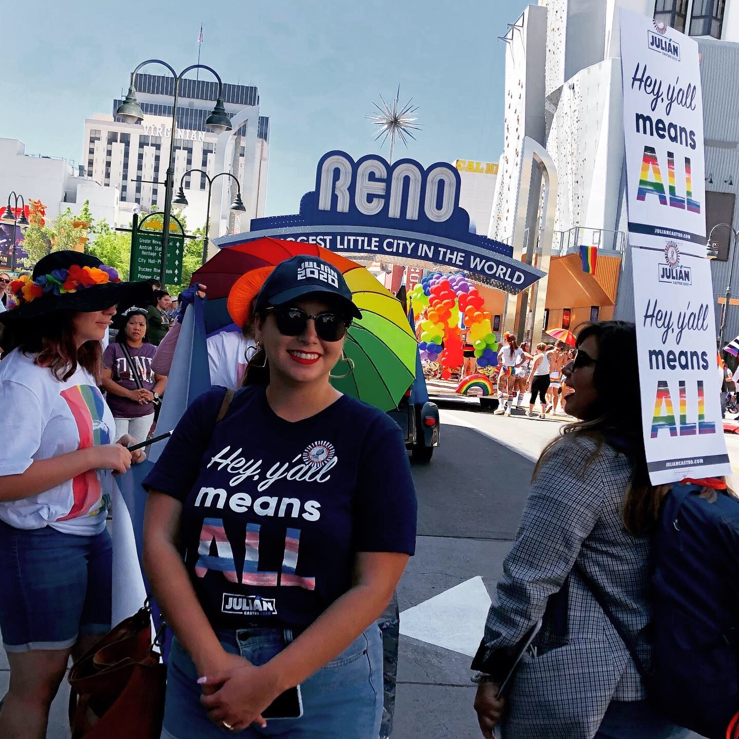 Julián Castro staff member, Kristian, in front of the Reno Arch at Reno Pride, July 2019