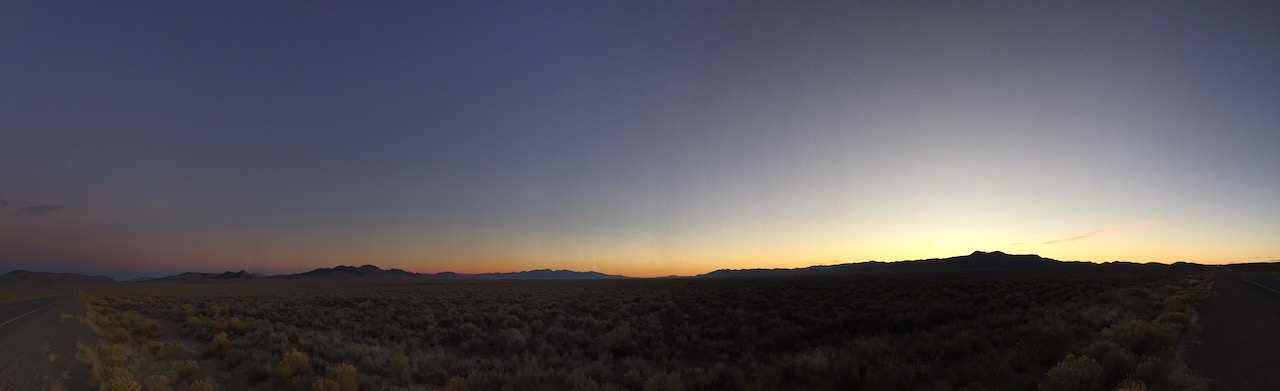 Sunset in the middle of Nevada, the Great Basin Desert.